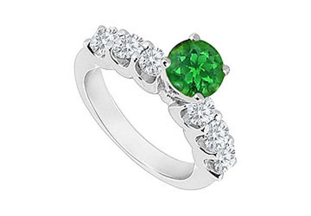 14K White Gold Emerald and Diamond Engagement Ring 0.80 CT TGW