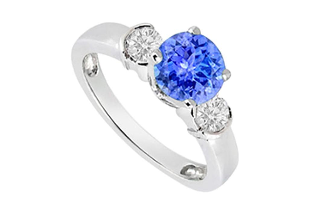 14K White Gold Engagement Ring side Diamonds and Tanzanite 1.20 Carat TGW