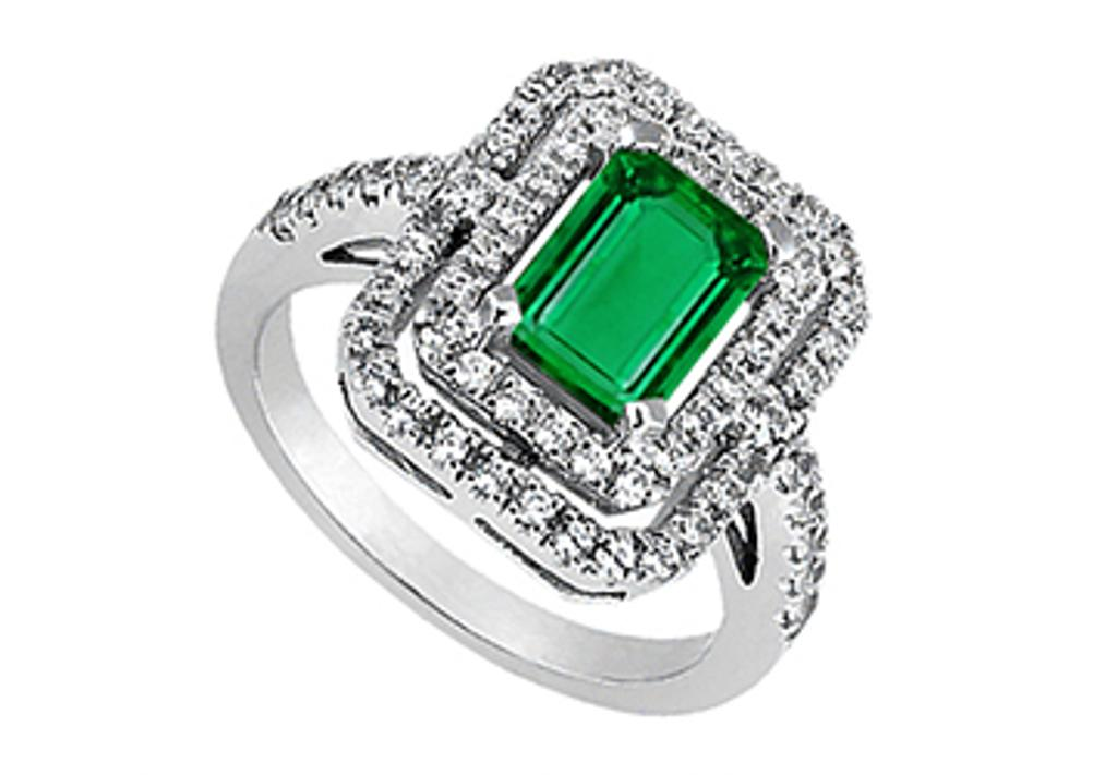 14K White Gold Emerald Cut Simulated Green Emerald and Cubic Zirconia Ring of 2.25 Carat TGW