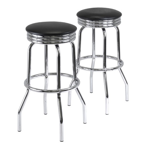 Winsome Summit 2 Piece Swivel Bar Stool with Faux Leather - Black