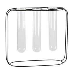 Urban Trends Metal Clustered Hanging Bud Vase Holder with 3 Large Glass Tube Vases on Round Stand in Coated Finish - Black