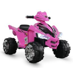 Kidzone Battery Powered 12V Kids ATV Ride On Quad, with LED Headlights and Music Horn, for Toddlers 3-6 Years Old, Pink