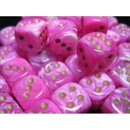Chessex Manufacturing 27854 12 mm Vortex Pink With Gold Numbers D6 Dice Set Of 36