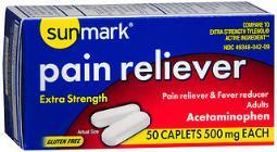 Sunmark Pain Reliever 500 mg Caplets - 50 ct