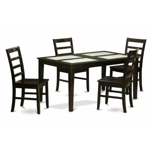 East West Furniture CAPF5G-CAP-W 5 Piece Dining Table Set-Glass Top Kitchen Table and 4 Kitchen Chairs
