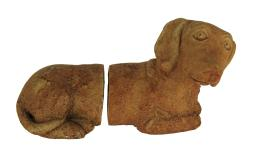 Designer Stone Rustic Brown Dachshund Dog Cement Bookends
