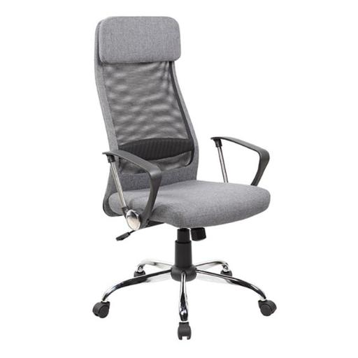 United Seating UOC-8045-GR High-back Mesh & Fabric Executive & Managerial Computer Desk Swivel Office Chair with High-Quality Fabric Upholstery Headre