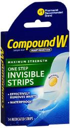 Compound W One Step Invisible Strips Wart Removal - 14 Strips, Pack Of 4