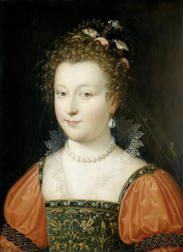 Portrait Of A Woman, By Anonymous, 1550-74, Netherlandish Painting, Oil On Panel. Young Woman With Flowers In Her Hair, Pearl Jewelry, And.