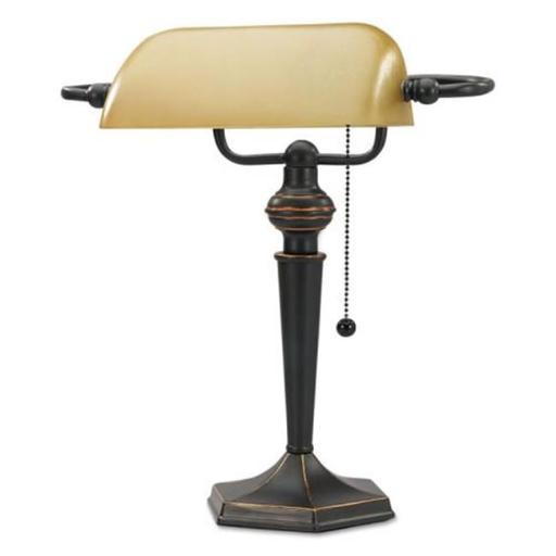 16 in. Traditional Bankers Lamp, Amber Shade with Antique Bronze Base