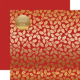 "Holly & Berries Gold Foiled Double-Sided Cardstock 12""X12""-Red Holly & Berries CBFHB-002"