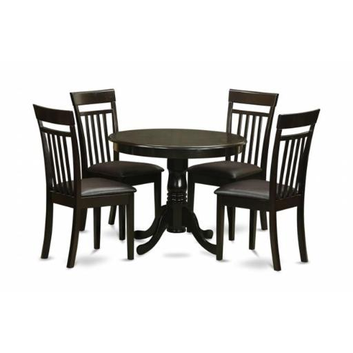 East West Furniture ANCA5-CAP-LC 5 Piece Small Kitchen Table and Chairs Set-Round Table and 4 Chairs For Dining Room
