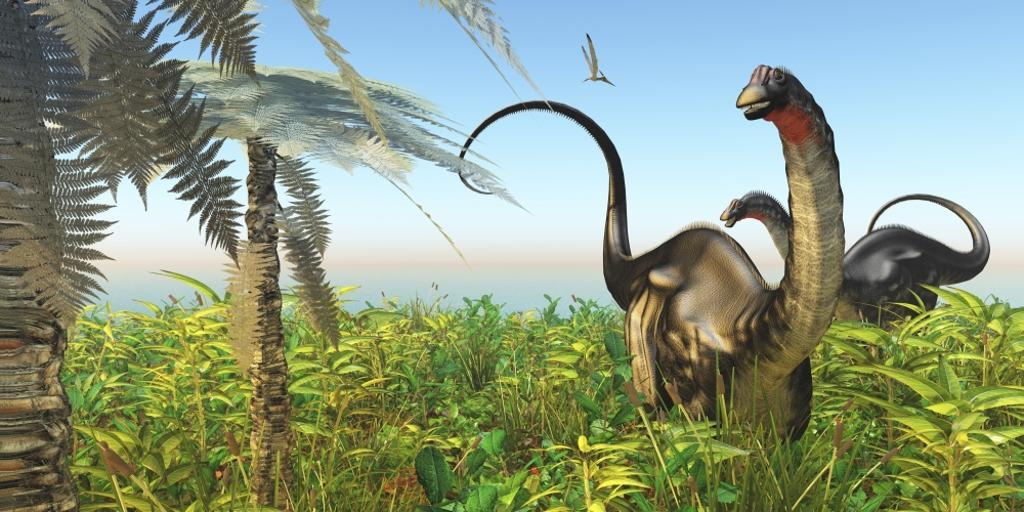 A Pteranodon flies past two Apatosaurus dinosaurs in a lush Cretaceous jungle Poster Print