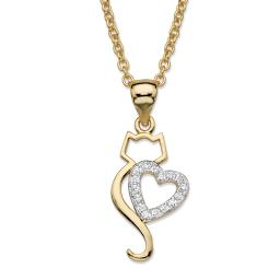 """Round Cubic Zirconia Heart Cat Pendant Necklace .13 TCW 14k Gold-Plated 18""""-20"""""""