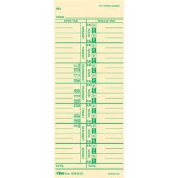 Tops Products 12593 3.5 x 9 in. Time Card for Acroprint Ibm, Lathem & Simplex Weekly, Yellow - 100 Per Pack