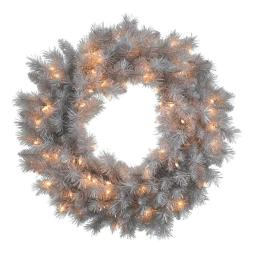 Vickerman N135225 Silver White Wreath with Clear Lights, 24 in.