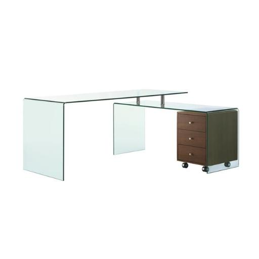 Casabianca Furniture CB-1109-WAL-DESK Rio Glass Office Desk, Walnut Veneer & Clear - 29 x 67 x 55 in.