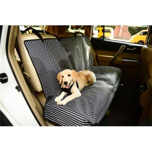 Pet Life CRT2NVS Open Road Mess Free Back Seat Safety Car Seat Cover Protector, Navy Blue & White Stripe - One Size