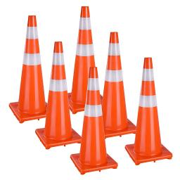 """36"""" Traffic Safety Cones Reflective Collars Overlap Parking Construction 6 Pcs"""