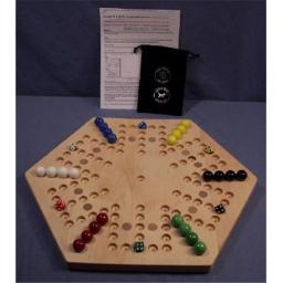 Charlies Woodshop W-1934.1 18 in. Hexagon Aggravation Wooden Marble Game Board with 12 Birch Inlaid Spots, Hard Maple - Oiled - 6-Player - 5-Hole