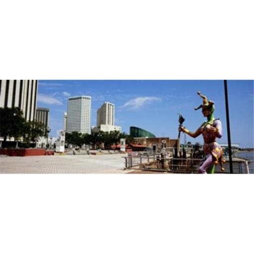 Panoramic Images PPI121189L Jester statue with buildings in the background Riverwalk Area New Orleans Louisiana USA Poster Print by Panoramic Imag