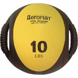 Agm Group-aeromat Fitness Products Agm13710lb 9 In. Dia. Dual Grip Power Medicine Ball, 10 Lbs - Black & Yellow