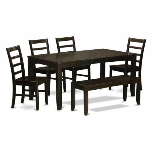 East West Furniture LYPF6-CAP-W 6 Piece Dining Room Set With Bench-Table With Leaf and 4 Dining Room Chairs Bench