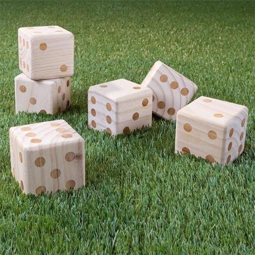 Hey Play M350021 Giant Wooden Yard Dice Outdoor Lawn Game, 6 Playing Dice with Carrying Case for Kids & Adults