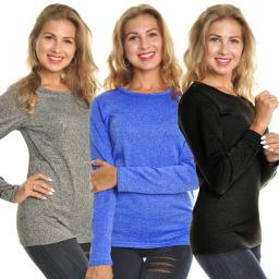 Angelina Lady's Fleece Lined Crew Neck Long Sleeves Thermal - Medium (Marled Black, Marled Blue, Marled Gray)