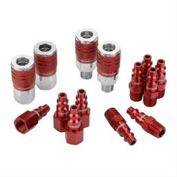 Colorconnex a73458d colorconnex coupler  plug kit type d 1/4in npt 1/4in body red 14 pc