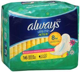 Always Ultra Thin Active Flexi-wings Pads Regular Clean Scent - 12pks Of 16