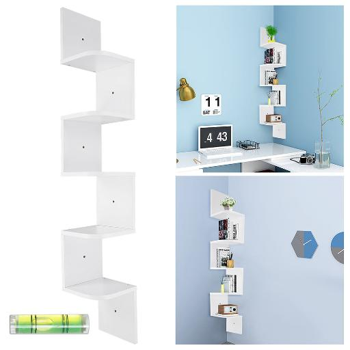 Yescom 5 Tiers Zig Zag Floating Wall Mount Corner Shelf Wooden Display Shelves Storage Organizer with Gradienter White