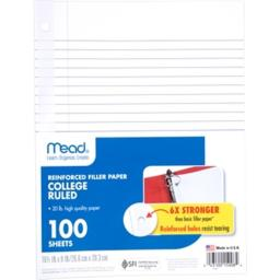 Acco Brands Usa Mead 15008 8 x 10.5 in. Five Star Reinforced Filler Paper, White