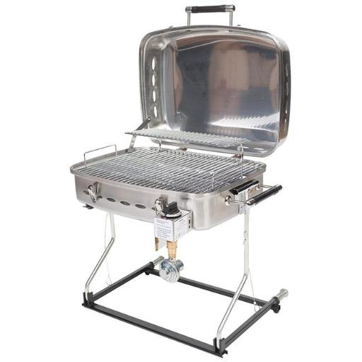 Stainless Steel Barbecue Grille with Disposable Bottle Adapter
