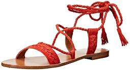 FRYE Women's Ruth Whipstitch Ankle Gladiator Sandal, Coral, 6 M US