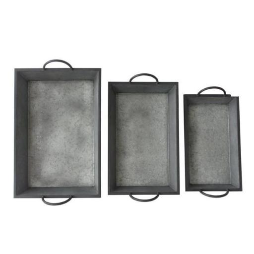 Cheungs FP-4002-3 Set of 3 Metal Tapered Tray with Metal Side Handles