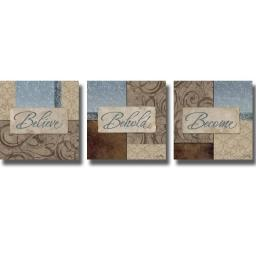 Artistic Home Gallery 1212696S-Believe-Behold-Become by Elizabeth Medley-3 Piece Canvas Wall Art Set 1212696S