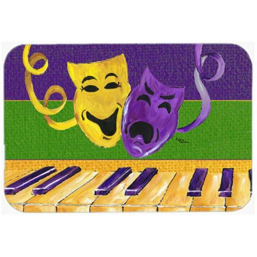 Carolines Treasures 8383LCB 15 X 12 In. Mardi Gras Key Board with Comedy and Tragedy Glass Cutting Board