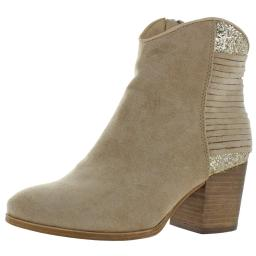 Very G Womens Gypsy Faux Suede Glitter Ankle Boots