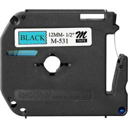 Brother international corporat m531 brother non-laminated tape - black on blue - 26.2 feet - for brother pt55bm, pt5