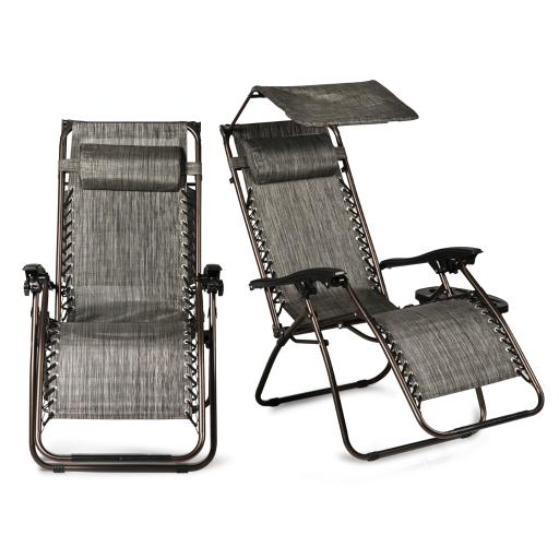 BELLEZE Set of 2 Ergonomic Recliner Phone Slots Reclining Zero Gravity Chairs Canopy Shade Cover w/ Adjustable Pillows,