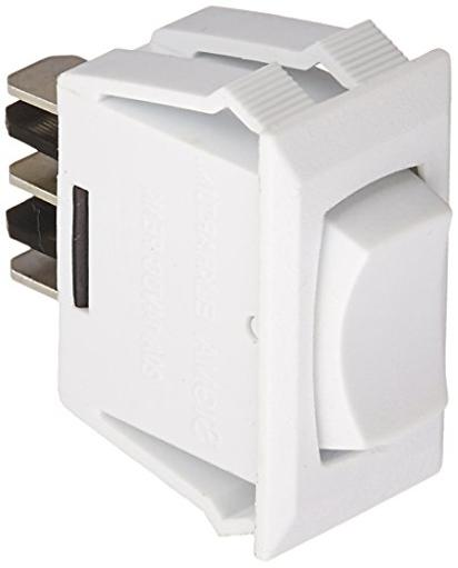 White Rocker Switch 10 A Momentary On/Off/Momentary On - Spdt - Cut-Out .550In