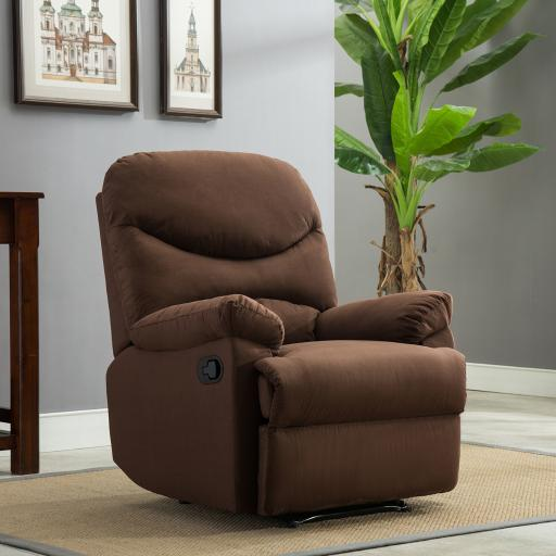 Belleze Microfiber Recliner Sofa Chair Home Office Reclining Positions Ergonomic Armrests/Footrests, Brown