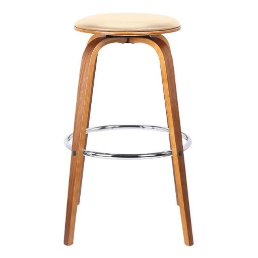 Armen Living LCHBBACRWA26 33 x 24 x 24 in. 26 in. Harbor Mid-Century Swivel Counter Height Backless Barstool, Cream Faux Leather with Walnut Veneer