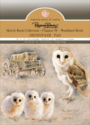 Pollyanna Pickering Sketchbook A6 Decoupage Pad 80/pkg-ch.4 Woodland Birds, 8 Designs/10ea