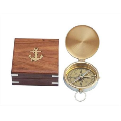 Solid Brass Gentlemens Compass With Rosewood Box 4 in. Compasses Decorative Accent