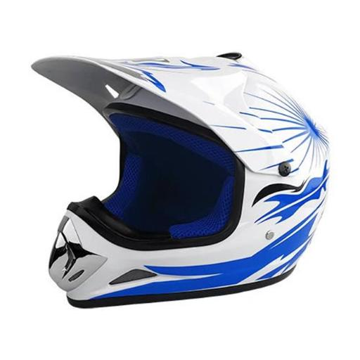 Off Road Motocross Motorcycle Helmet - White & Blue PUKXJ1YQSF7Q4FOR