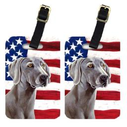 Carolines Treasures LH9001BT Pair Of USA American Flag With Weimaraner Luggage Tags