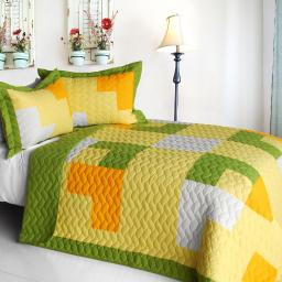 Zing 3PC Cotton Vermicelli-Quilted Patchwork Geometric Quilt Set-Full/Queen Size