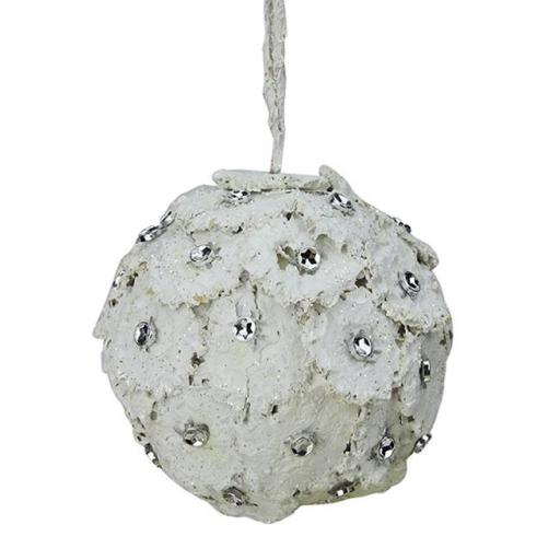 Northlight Seasonal 31581061 4 in. Rustic Chic Glittered White Flower Petals With Rhinestones Christmas Ball Ornament